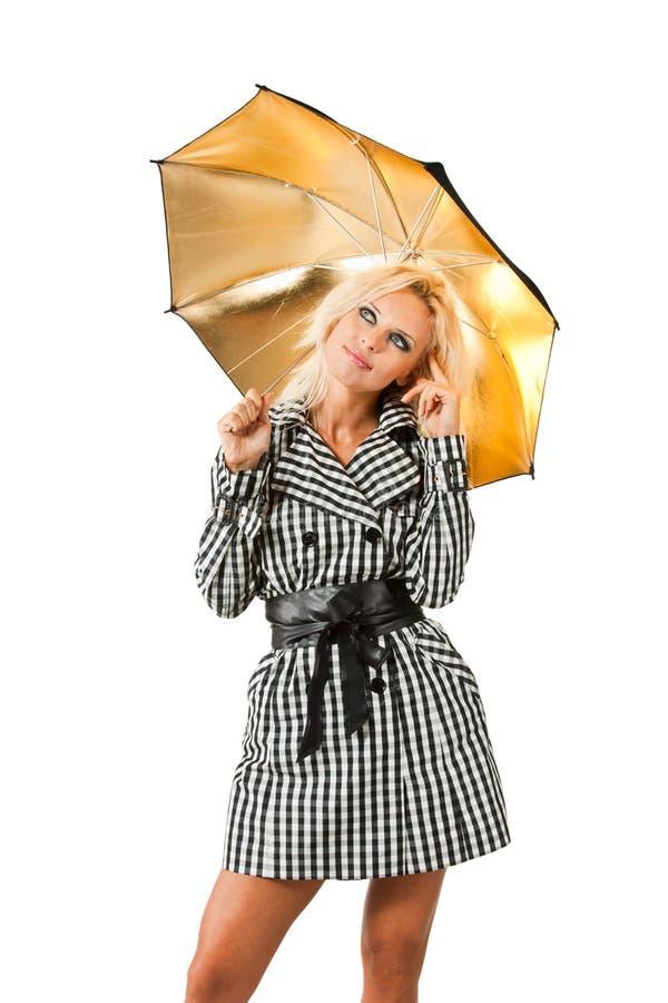 白肤金发的伞 库存照片