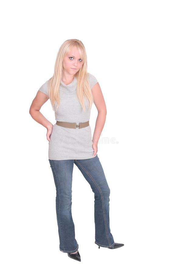 白肤金发的充分的女孩长度 库存照片