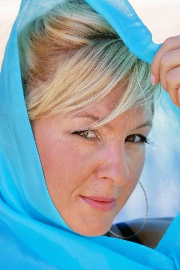 白肤金发的头发的丝绸妇女 库存图片