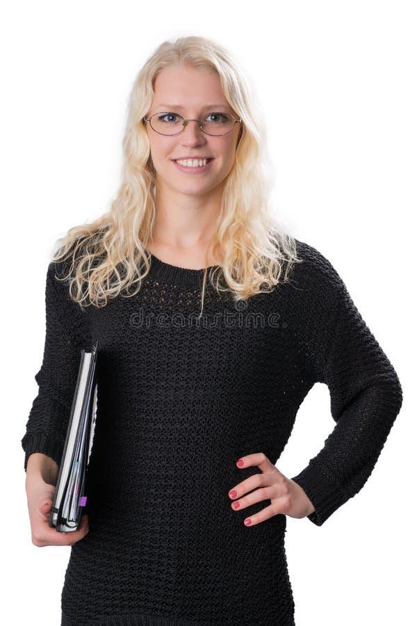 白肤金发的女商人年轻人 免版税库存图片