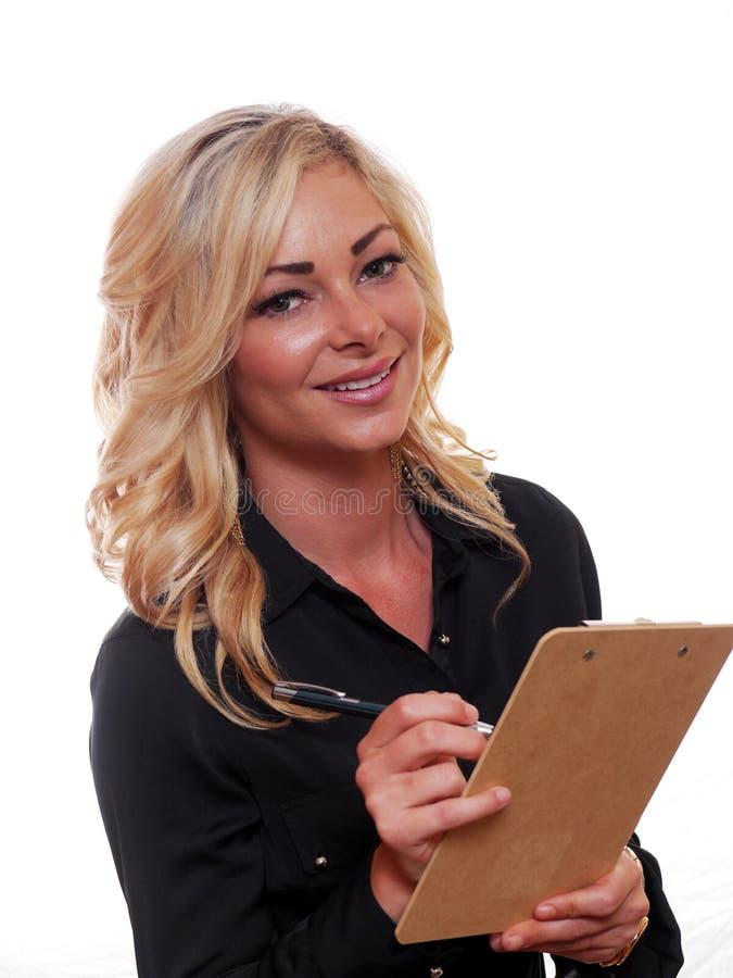 白肤金发的女商人 免版税库存图片