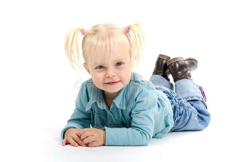 白肤金发的女孩一点 库存图片