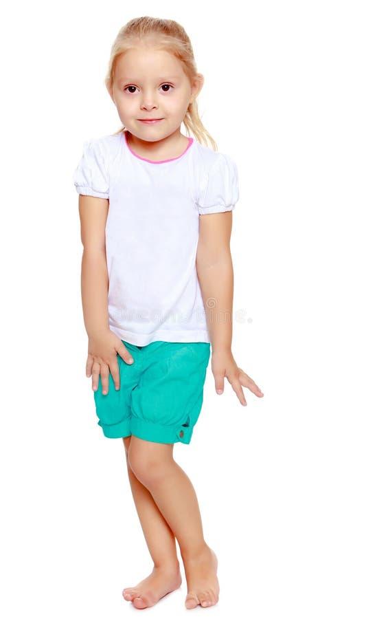 白肤金发的女孩一点 免版税库存照片