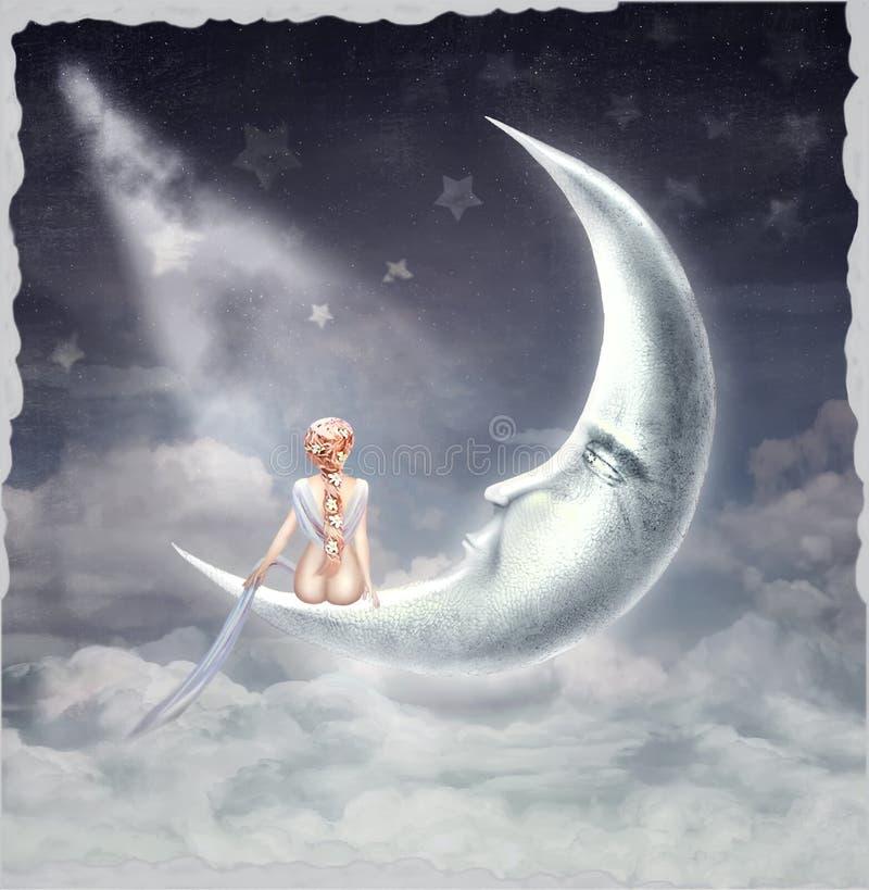 年轻白肤金发的女孩坐月亮 向量例证