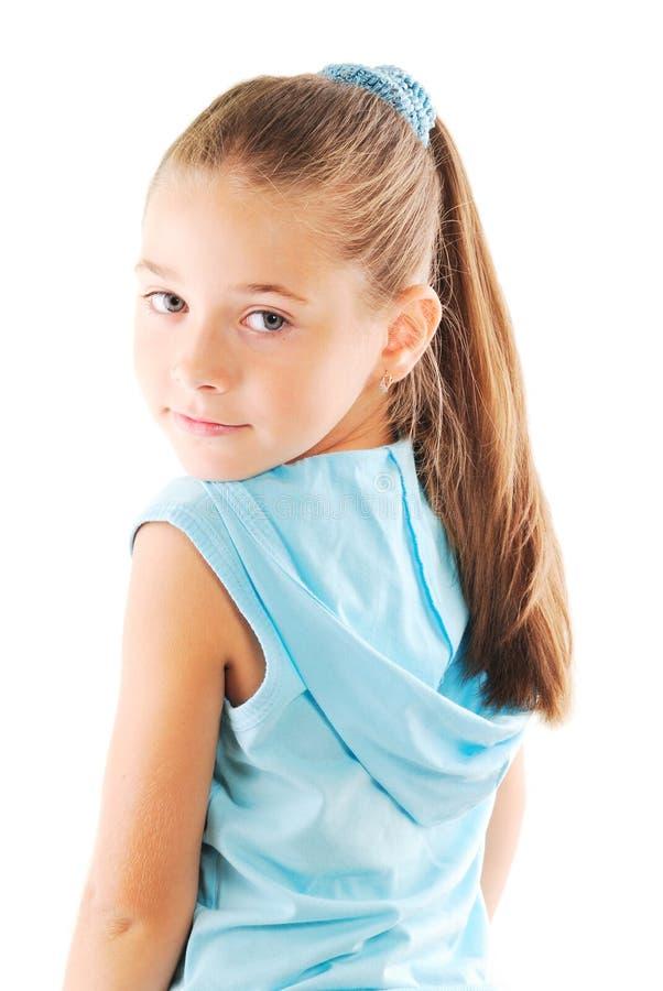 白肤金发的女孩头发长期一点 库存图片