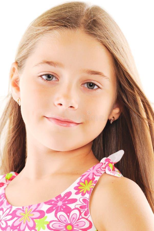 白肤金发的女孩头发长期一点 免版税库存照片