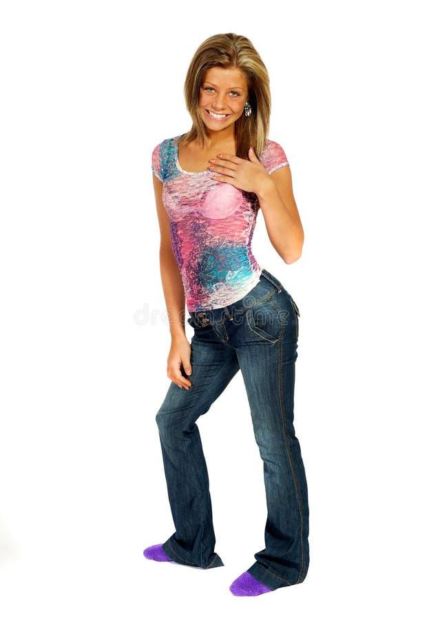 白肤金发的女孩工作室 免版税库存照片