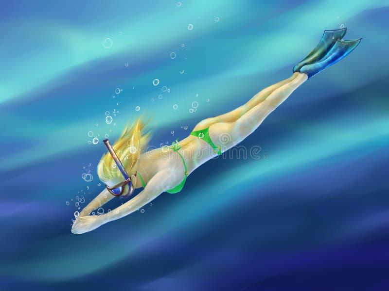 白肤金发的女孩潜水在海 皇族释放例证