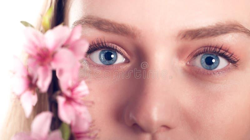白肤金发的女孩的美丽的蓝眼睛用桃子开花 库存照片