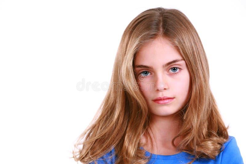 白肤金发的女孩震惊的一点 免版税库存图片