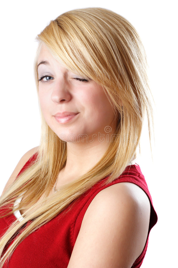 白肤金发的女孩青少年闪光 免版税图库摄影