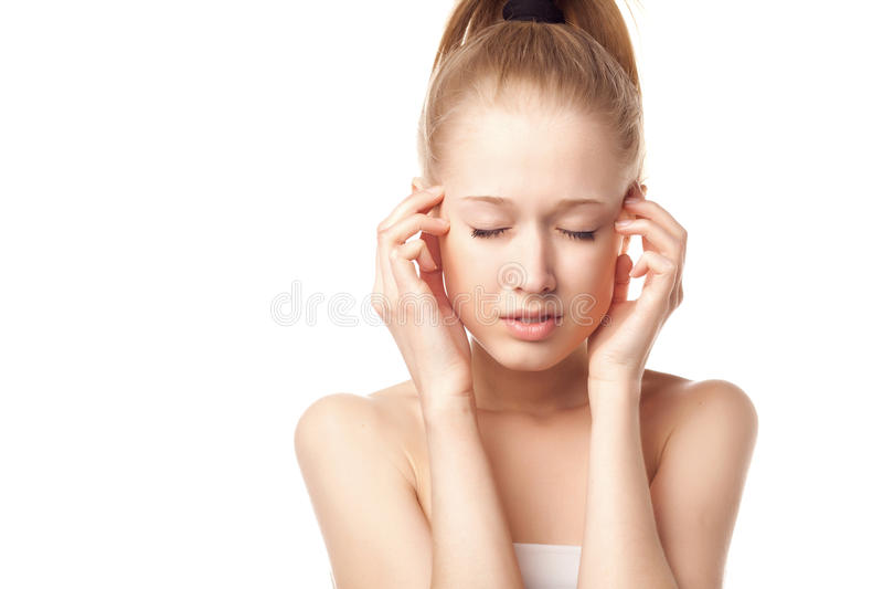 白肤金发的女孩题头损害s 库存照片