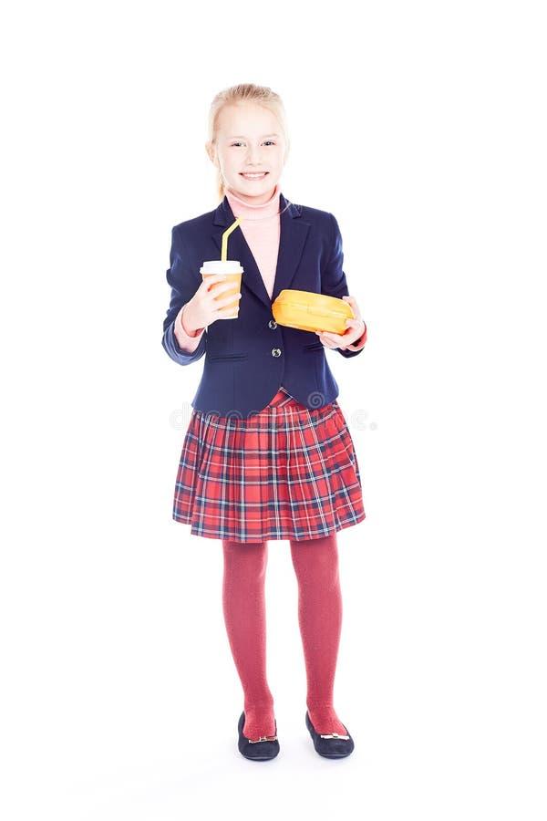 白肤金发的女小学生 库存照片