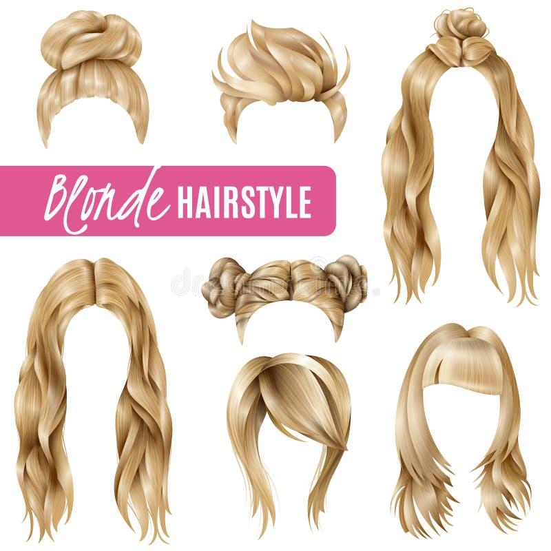 白肤金发的妇女的发型被设置 库存例证