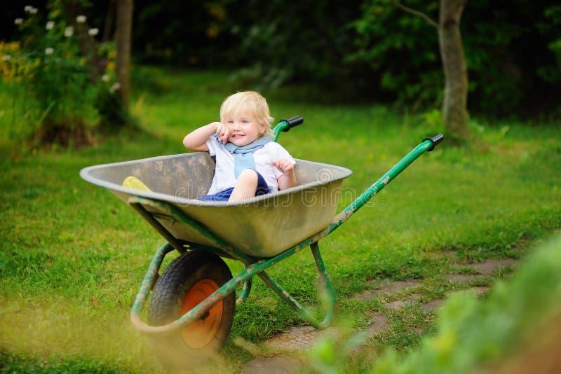 白肤金发的小孩男孩获得乐趣在独轮车 库存照片