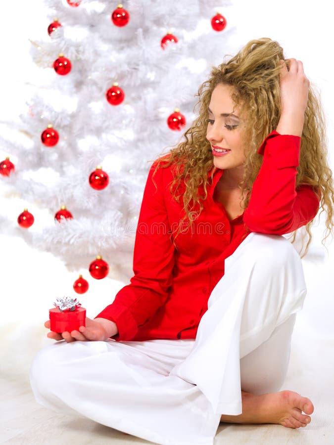 白肤金发的小鸡圣诞节 库存照片