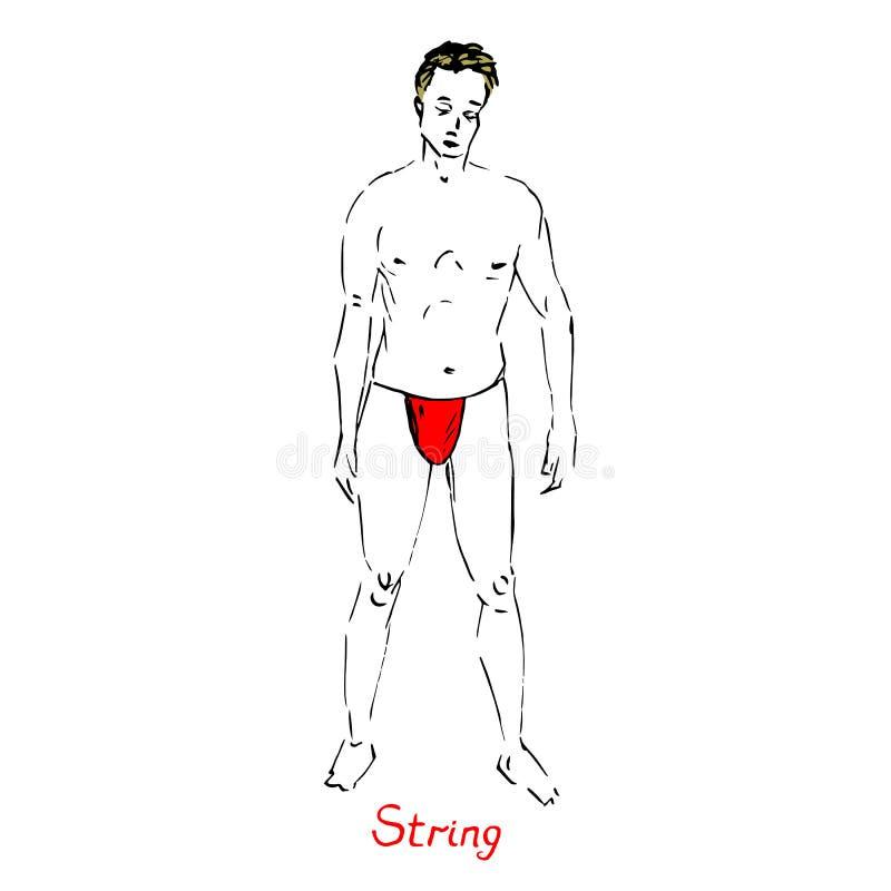 白肤金发的性感的人画象泳装的红色串类型的有题字的,手拉的概述乱画,在流行艺术样式的剪影 库存例证
