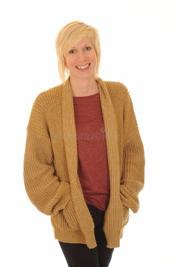 白肤金发的愉快的妇女年轻人 免版税图库摄影