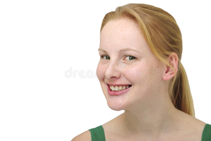 白肤金发的愉快的微笑的妇女 图库摄影