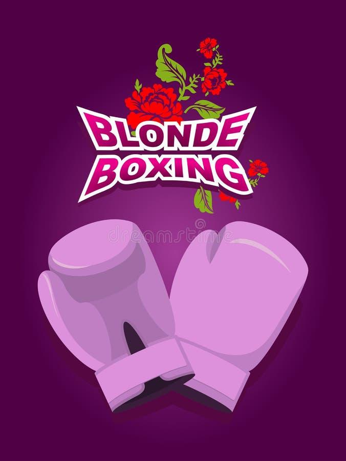 白肤金发的拳击 可笑的女性拳击的商标 桃红色拳击手套 库存例证