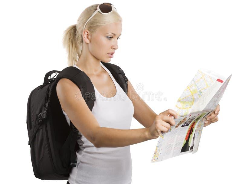 白肤金发的旅游年轻人 库存照片