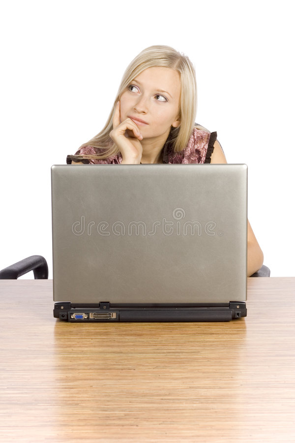 白肤金发的服务台膝上型计算机妇女&# 库存图片