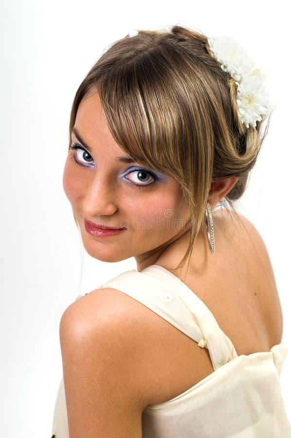 白肤金发的浪漫样式 免版税库存照片