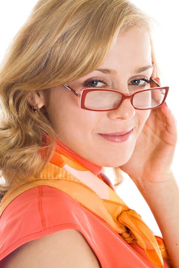 白肤金发的玻璃妇女年轻人 免版税库存照片