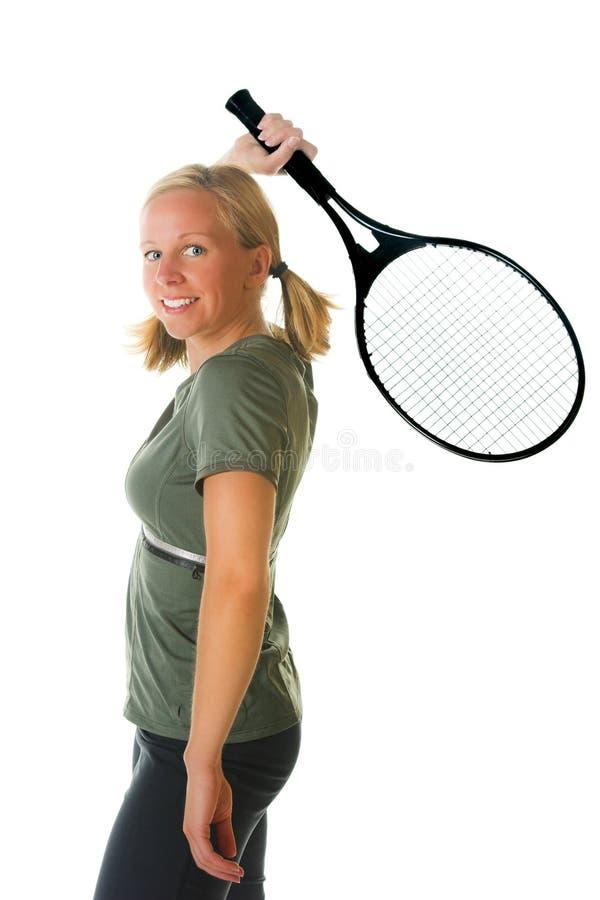 白肤金发的球拍网球妇女 免版税库存图片