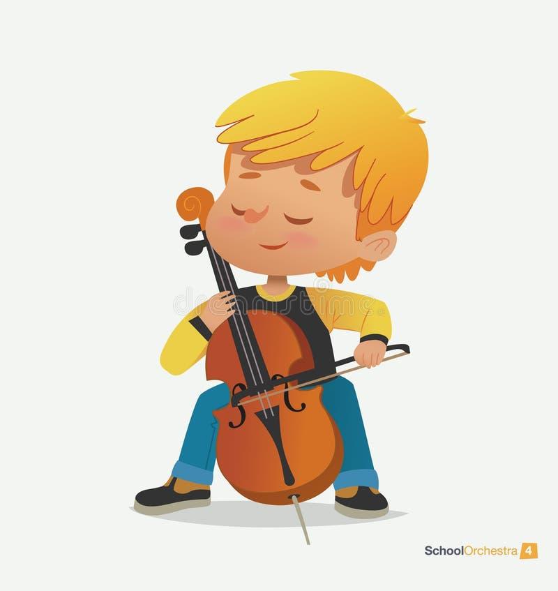 白肤金发的男孩坐椅子充满喜悦的戏剧低音提琴 库存例证