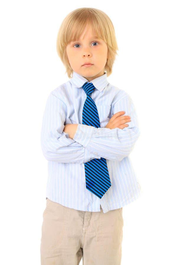 白肤金发的男孩子项查出的白色 库存图片