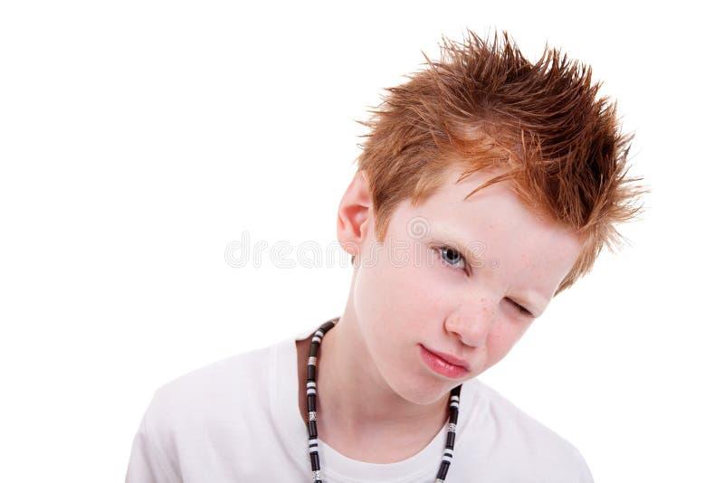 白肤金发的男孩逗人喜爱微笑的闪光 图库摄影