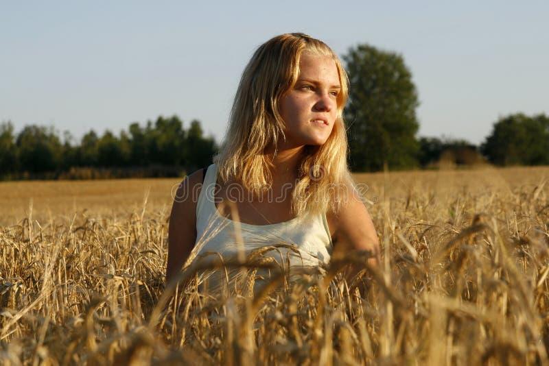 白肤金发的看起来的严重的周道的妇&# 图库摄影