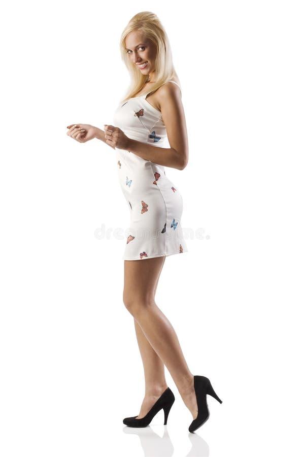 白肤金发的礼服性感的白色 库存照片