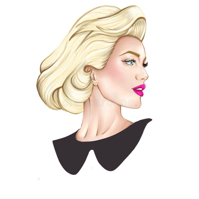白肤金发的端庄的妇女画象  向量例证