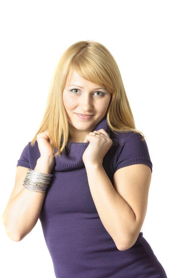 白肤金发的端庄的妇女 库存图片