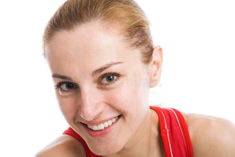白肤金发的紧身连衣裤红色运动 库存图片
