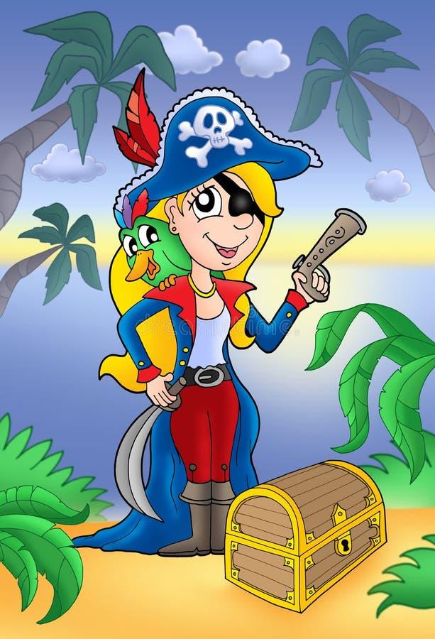 白肤金发的胸口海盗珍宝妇女 库存例证