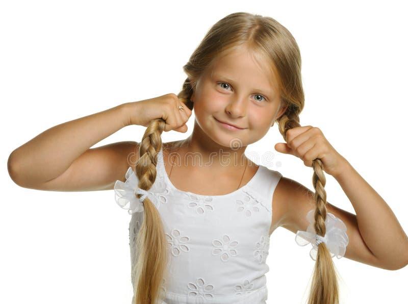 白肤金发的辫子女孩藏品相当  免版税图库摄影