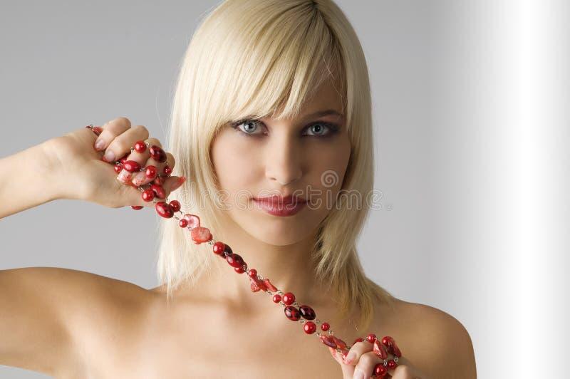 白肤金发的项链 免版税库存图片