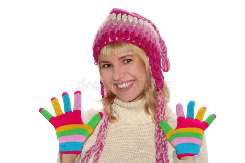 白肤金发盖帽女孩微笑 库存图片