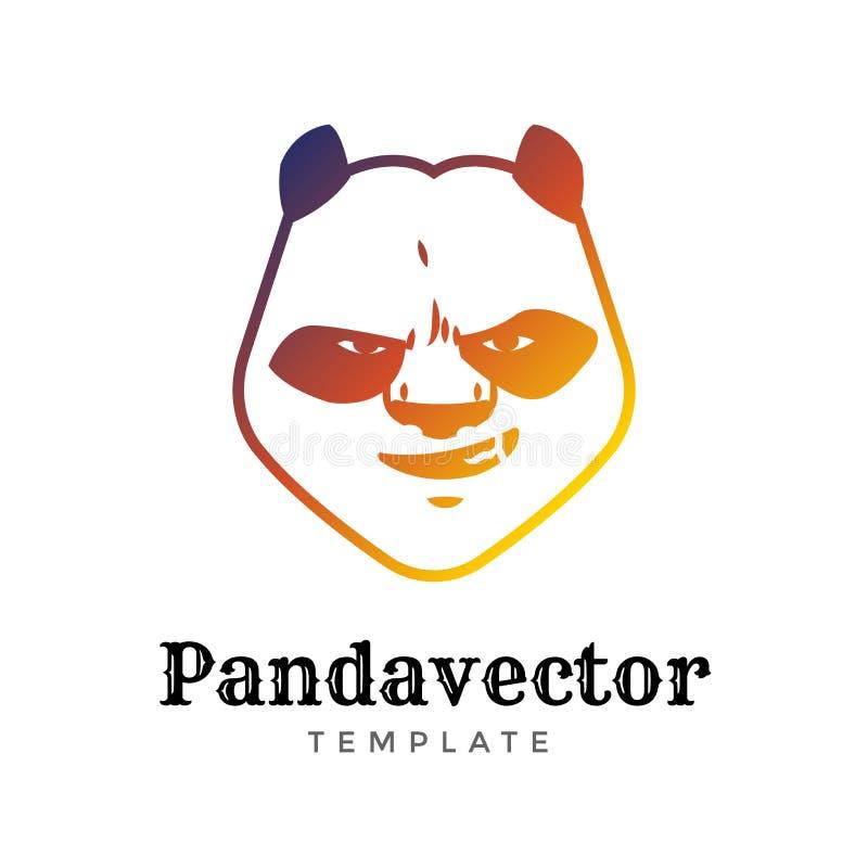 白背景中突显的熊猫熊运动矢量图标识概念 现代捕食者职业团队徽章设计 库存例证