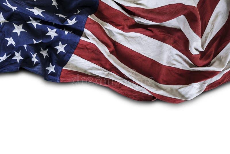 白背景美国旗帜上突显的带有复制空间的美利坚合众国国旗 免版税库存图片