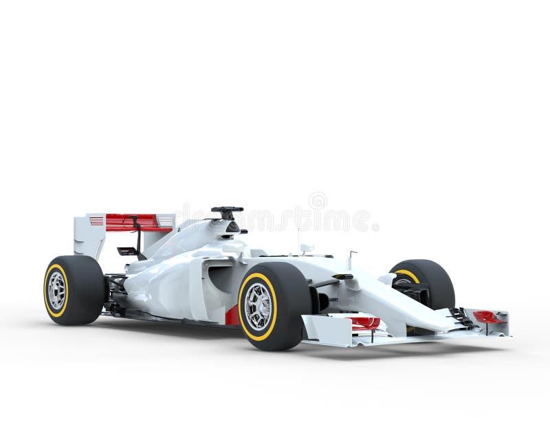 白色一级方程式赛车车的演播室照明设备 库存图片