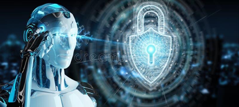 白色与数字安全挂锁全息图3D翻译的机器人保护的数据 向量例证