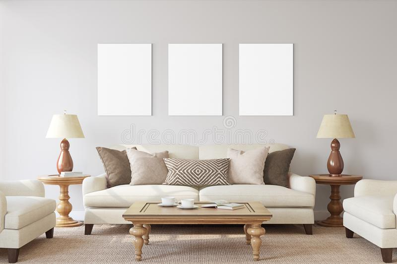 白色与空白的框架大模型的被隔绝的海报 库存图片