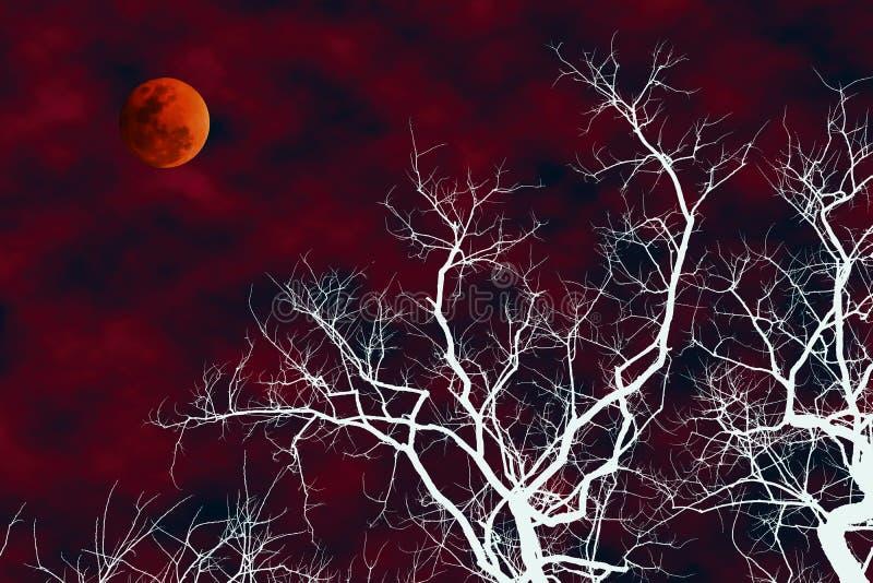 白色与血液月亮的剪影死的树的例证 库存图片