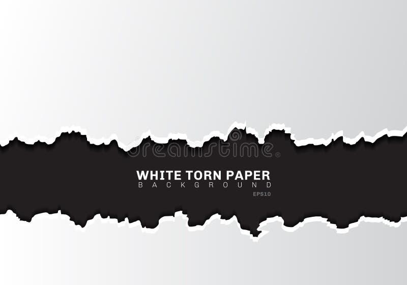 白色与阴影的被撕毁的纸的边缘在与拷贝空间的黑背景 向量例证