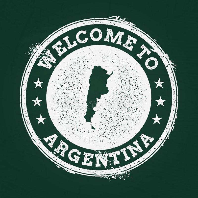 白色与阿根廷的白垩纹理减速火箭的邮票 向量例证