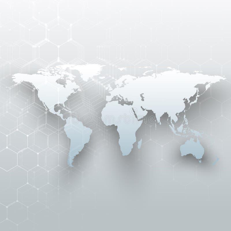 白色世界地图、连接线和小点在灰色颜色背景 化学样式,六角分子结构 皇族释放例证